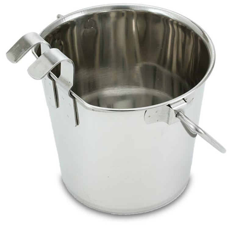 Flat sided pail with 2 hooks